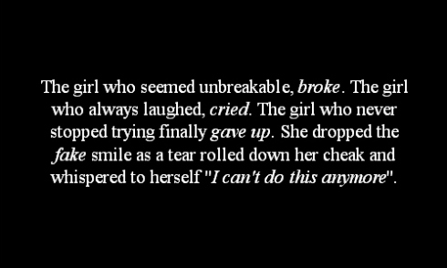 The Girl Who Seemed Unbreakable, Broke